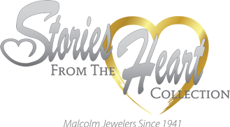 Stories from the Heart Collection logo showing the text Stories from the Heart Collection in silver letters over a golden heart